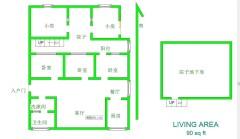 3室2厅1卫101m²中档装修